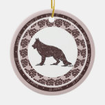 German Shepherd Dog with Brown Hearts Ornament