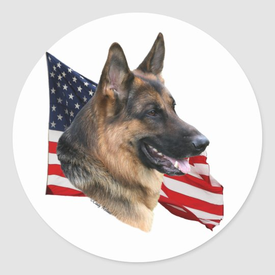 German Shepherd Dog With Flag Sticker Zazzle Com