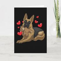 German Shepherd Dog with hearts Card