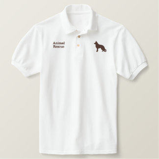 German Shepherd Dog with Paw on Back Side Embroidered Polo Shirt
