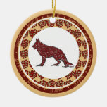 German Shepherd Dog with Red Hearts Ornament
