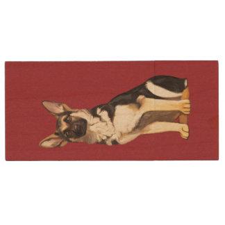 German Shepherd Dog Wood USB Flash Drive