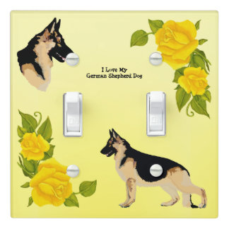 German Shepherd Dog - Yellow Roses Light Switch Cover