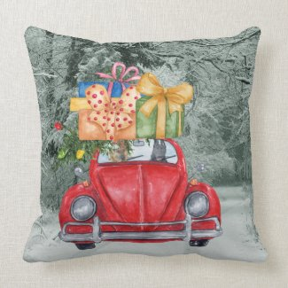 German Shepherd Dogs Christmas Driving it Home, ZK Throw Pillow