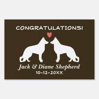 German Shepherd Dogs Wedding Couple with Text Yard Sign