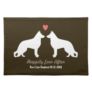 German Shepherd Dogs Wedding with Custom Text Cloth Placemat