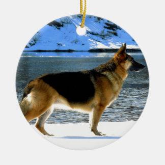 German Shepherd Double-Sided Ceramic Round Christmas Ornament