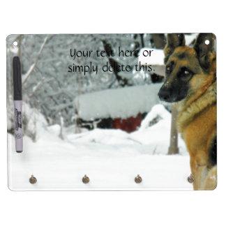 German Shepherd Dry Erase Board With Keychain Holder