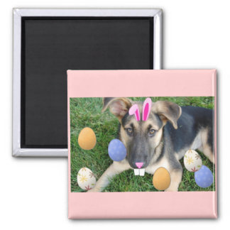German Shepherd Easter Puppy 2 Inch Square Magnet