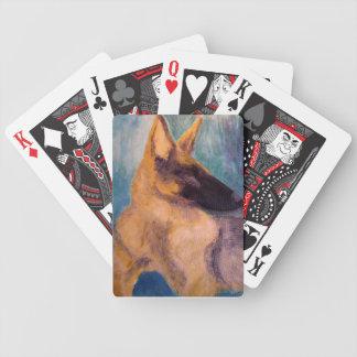 German Shepherd Expressionism Art Playing Cards