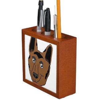 German Shepherd Face Cartoon Desk Organizer