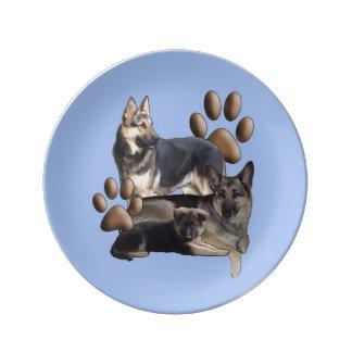 German Shepherd family portait Porcelain plate