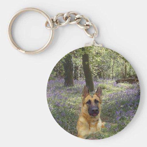 German Shepherd Forest Keychain