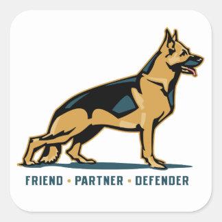 German Shepherd Friend Square Stickers