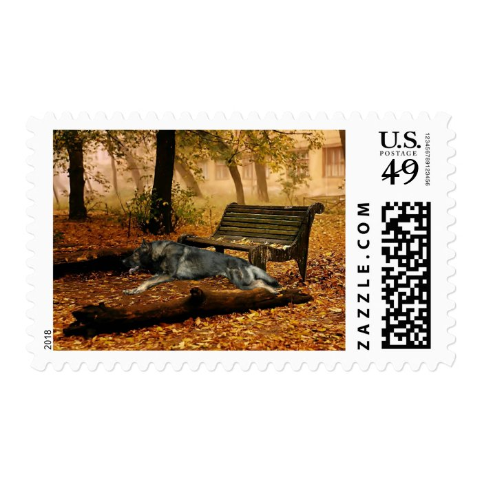 German Shepherd Full Stride Postage Stamp