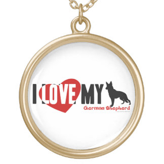 German Shepherd Gold Plated Necklace