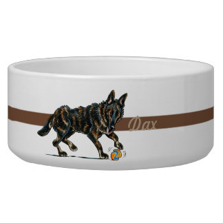 German Shepherd Grizzle Personalized Bowl