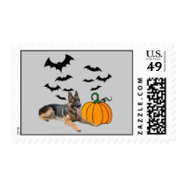 German Shepherd Halloween Postage Stamp