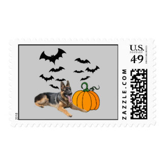 German Shepherd Halloween Postage Stamp