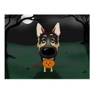 German Shepherd Halloween Postcard