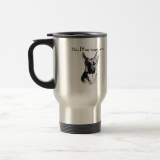 German Shepherd Happy Face 15 Oz Stainless Steel Travel Mug