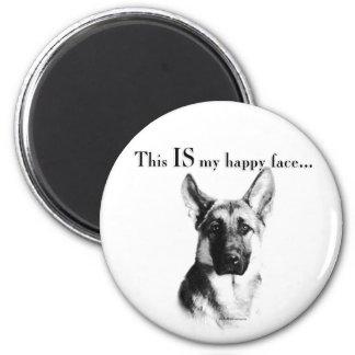 German Shepherd Happy Face 2 Inch Round Magnet
