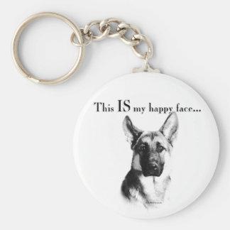German Shepherd Happy Face Basic Round Button Keychain