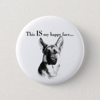 German Shepherd Happy Face Button