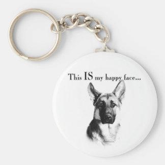 German Shepherd Happy Face Keychain