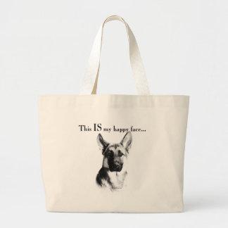 German Shepherd Happy Face Large Tote Bag