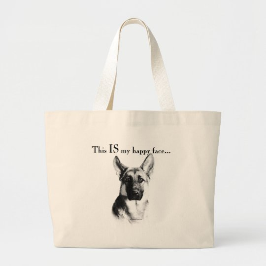 German Shepherd Happy Face Large Tote Bag