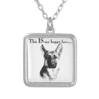 German Shepherd Happy Face Silver Plated Necklace