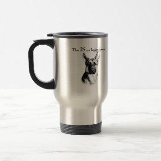 German Shepherd Happy Face Travel Mug