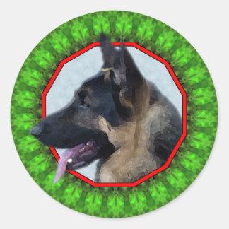 German Shepherd Happy Howliday Round Sticker