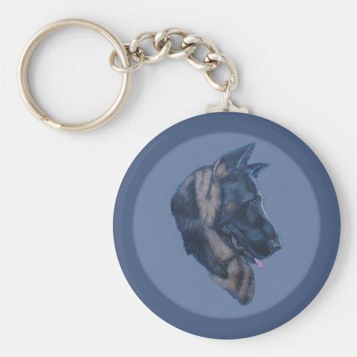 German Shepherd Head Study Basic Round Button Keychain