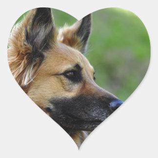 German Shepherd Headshot Heart Sticker
