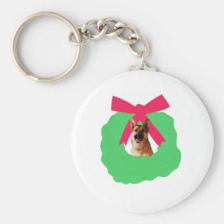 German Shepherd Holiday Christmas Wreath Basic Round Button Keychain