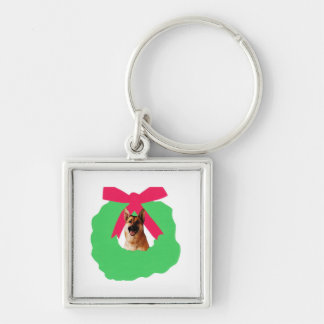 German Shepherd Holiday Christmas Wreath Silver-Colored Square Keychain