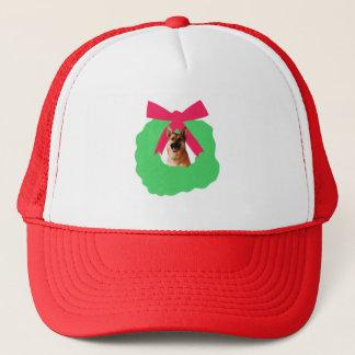 German Shepherd Holiday Christmas Wreath Trucker Hat
