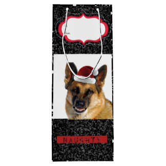German Shepherd Holiday Gift Bag for Wine