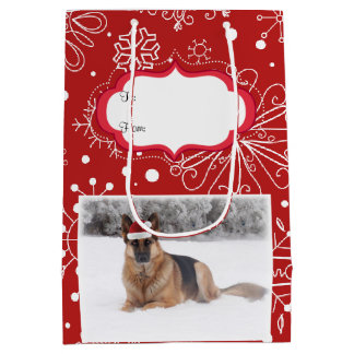 German Shepherd Holiday Gift Bag-Size Medium Medium Gift Bag