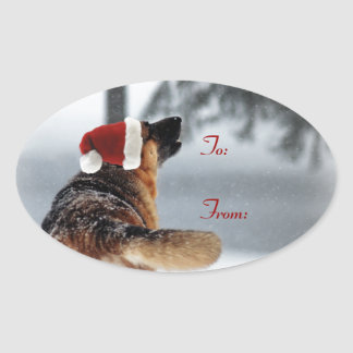 German Shepherd Holiday Gift Tags Stickers