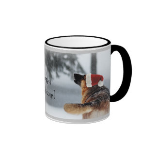 German Shepherd Holiday Photo Ringer Mug