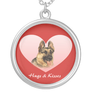 German Shepherd Hugs and Kisses Heart Necklace