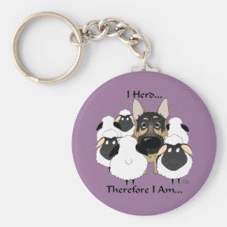 German Shepherd - I Herd...Therefore I Am Keychain
