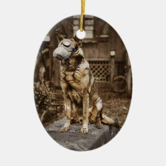 German Shepherd in Gas Mask Ceramic Ornament