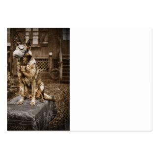 German Shepherd in Gas Mask Large Business Card