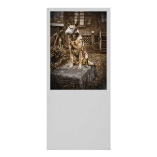 German Shepherd in Gas Mask Rack Card
