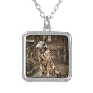 German Shepherd in Gas Mask Silver Plated Necklace