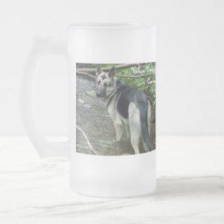 German Shepherd in the Creek; Yukon Territory Frosted Glass Beer Mug